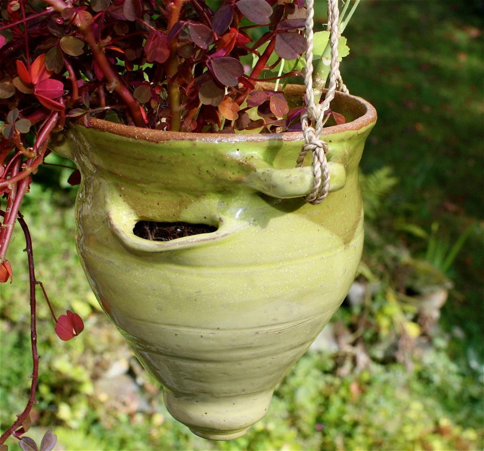 Strawberry Pot Hanging Planter in Yellow and Green Stoneware