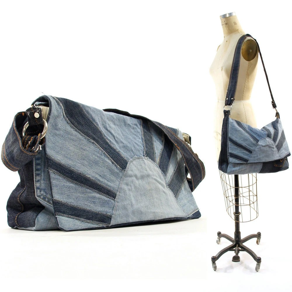 Rising Sun Handmade Patchwork Denim Messenger Bag