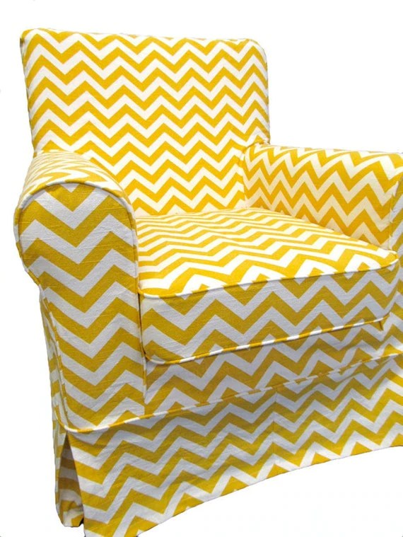 IKEA Jennylund Custom Slipcover in Yellow Chevron