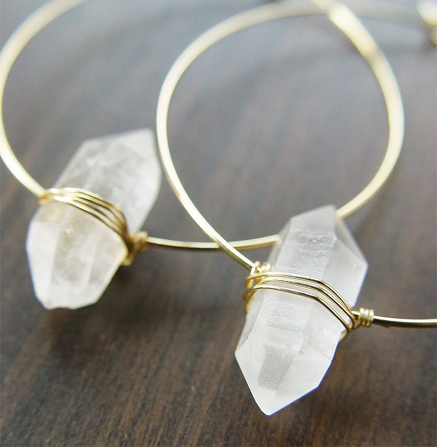 Herkimer Diamond Gold Hoop Earrings