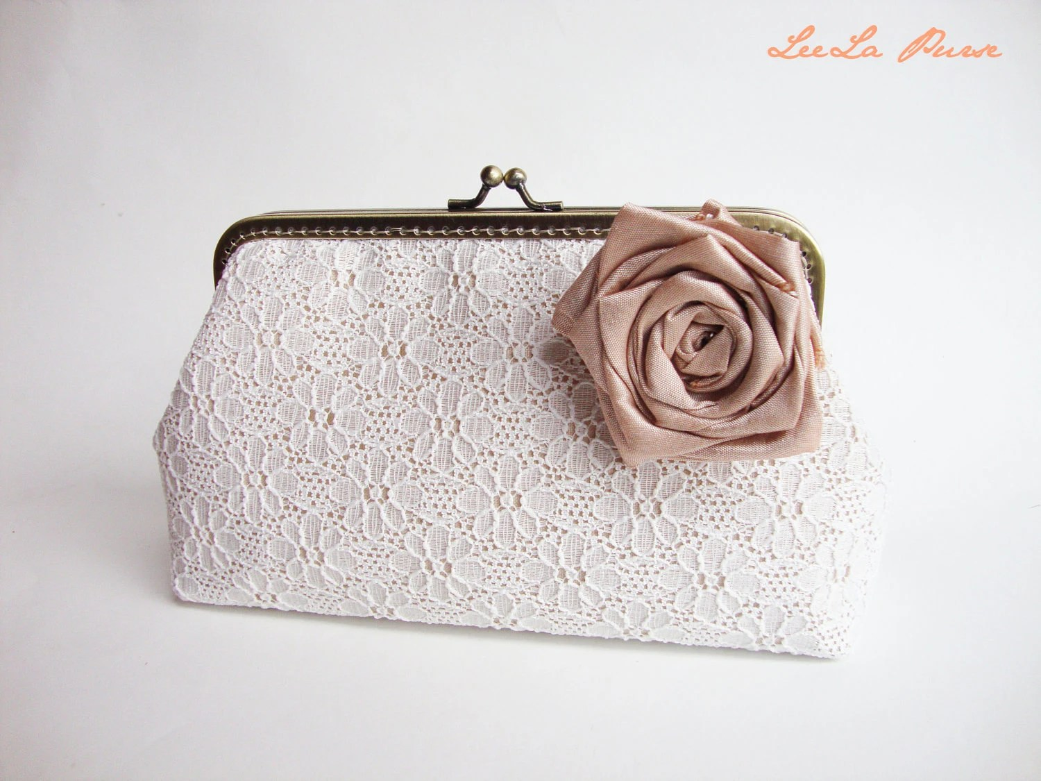 Vintage bridal clutch - Off White Lace Clutch with Detachable Silk Flower Brooch - Ready to Ship