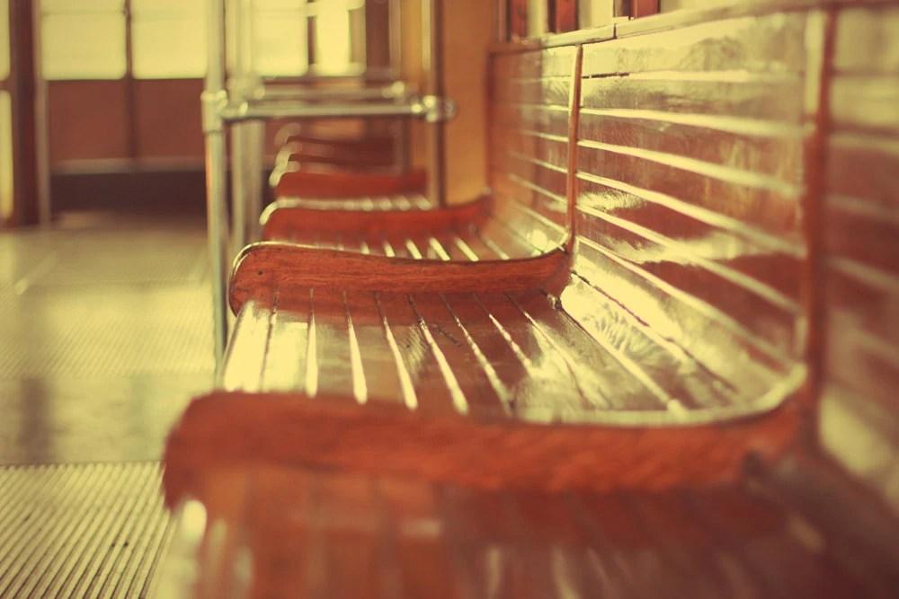 "Vintage seats of Italian historical tram - 8""x12""  wall decor"