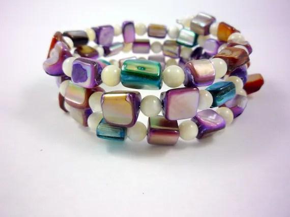 Teal and Purple Shell Bead Triple Bracelet