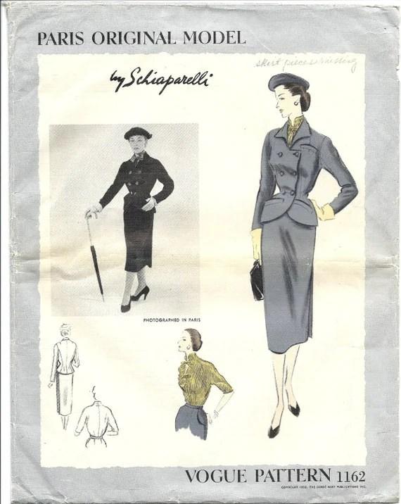 Vogue 1162 Elsa Schiaparelli pattern 1950s jacket skirt suit blouse Vogue Paris Original