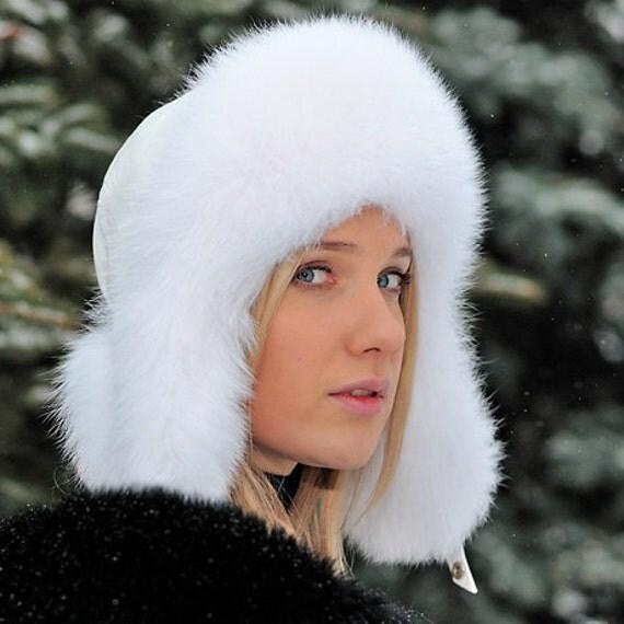 Fur hat with earflaps Ushanka (white fox)