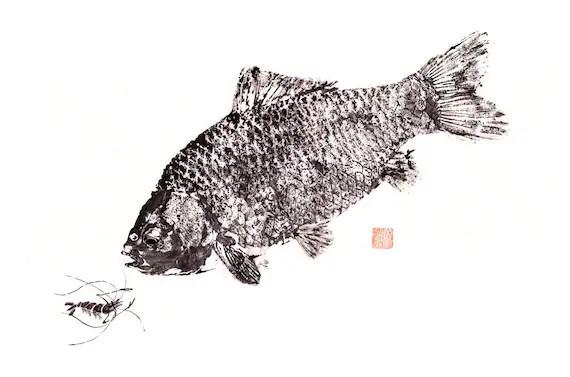GYOTAKU print - traditional Japanese fish art - Crucian Carp w/ shrimp by dowaito