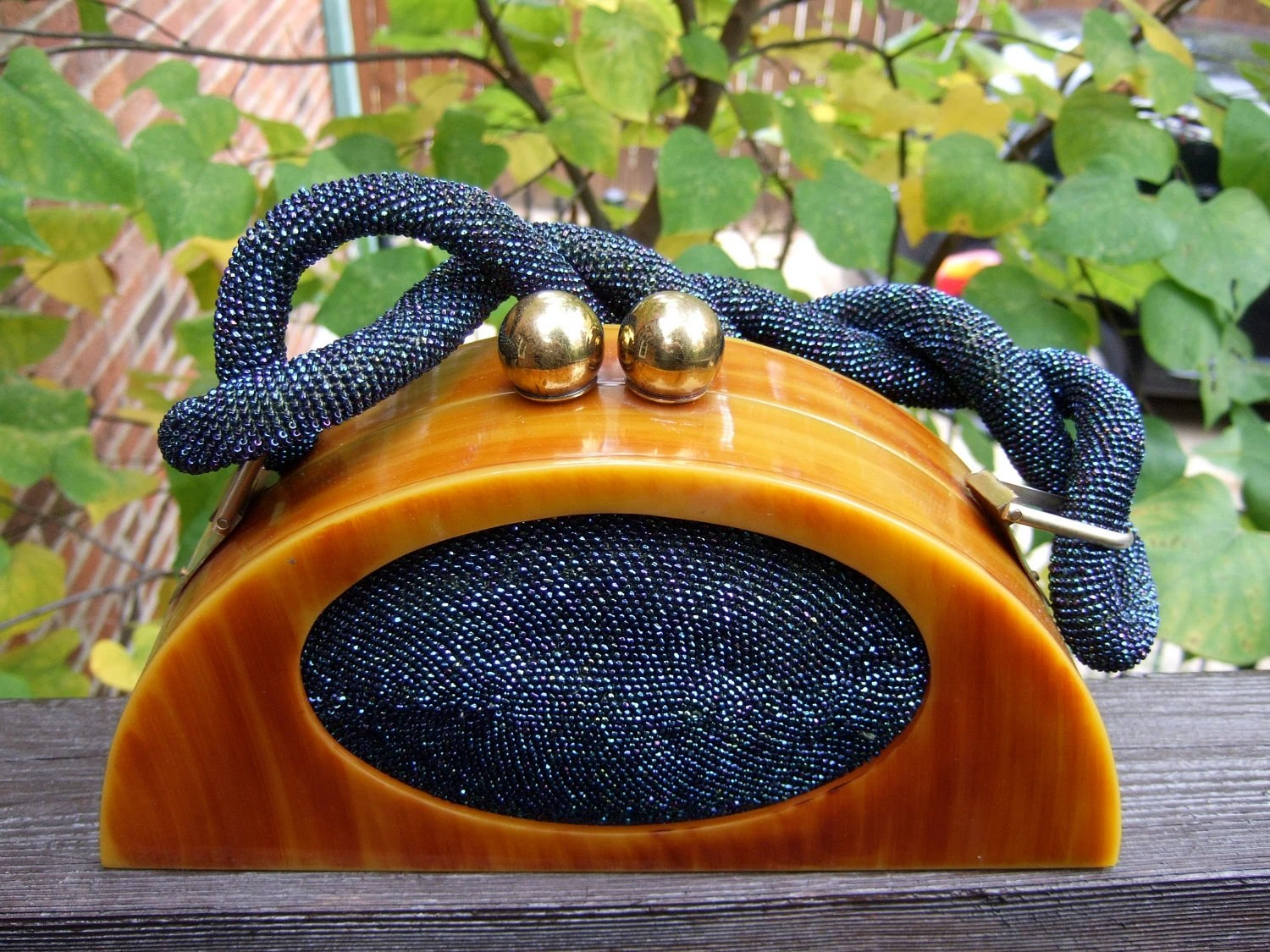 Bakelite & Cobalt Carnival Beaded Handbag from worldmarketproductio on Etsy