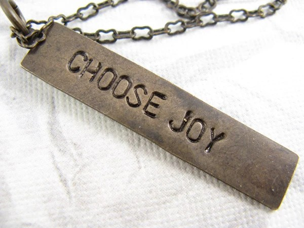 Choose Joy Necklace, Hand Stamped Jewelry, Inspirational Quote Necklace - CobwebCorner