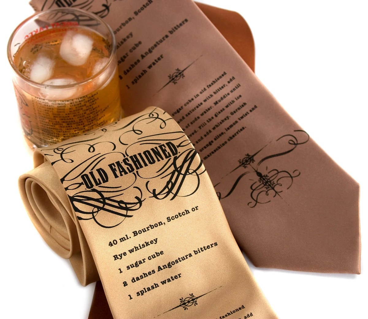 """Classic Cocktail necktie, """"Old Fashioned."""" Mens drink recipe tie. Silkscreened microfiber."""