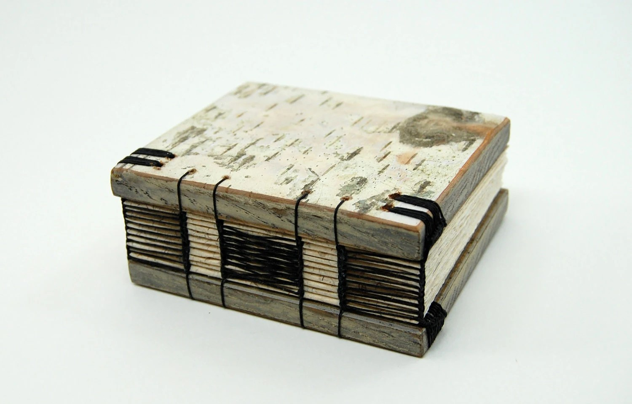 unique handmade  journal - small birch bark wood book by Three Trees Bindery