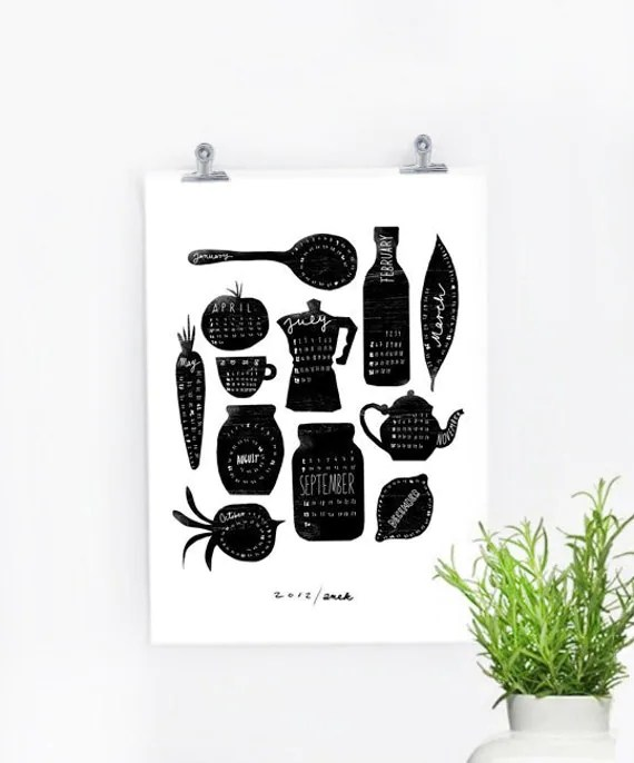 "2012 Calendar - Anek Kitchen Art Print - 11x15"" - Black and white"
