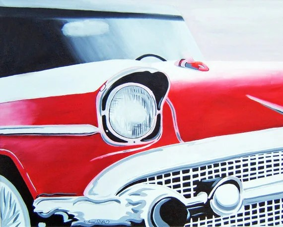 Black Red White and Sliver Vintage Car Original Painting 16x20 On Canvas Ready to Hang Man Cave