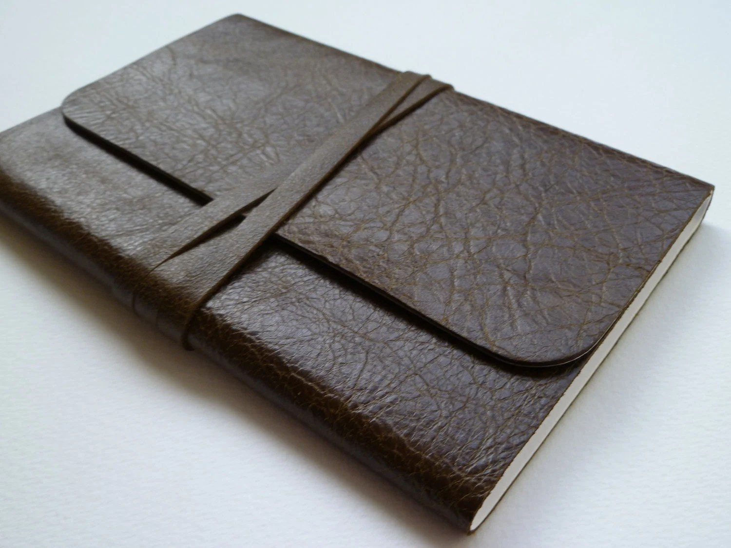 Leather Bound Notebook Dark Olive Green with a hint of Brown Antique finish. Handmade