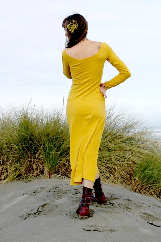 Organic Cotton Long Sleeve Maxi Dress, Eco dress, Custom color dress, Yellow Boho Hippy Dress,