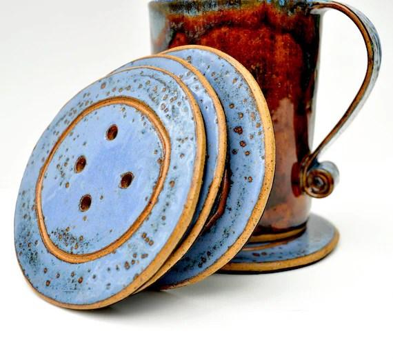 Button Coasters - ceramic coaster trivets (Set of 4) - GlazedOver