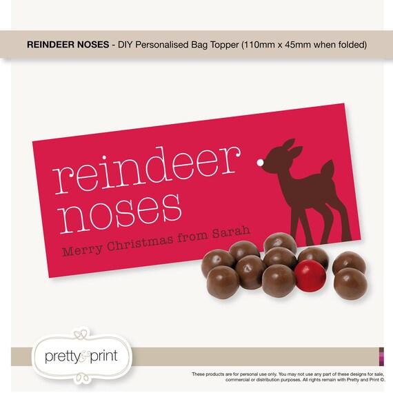Reindeer Noses - Bag Topper DIY Personalised Printable (Red Junior)