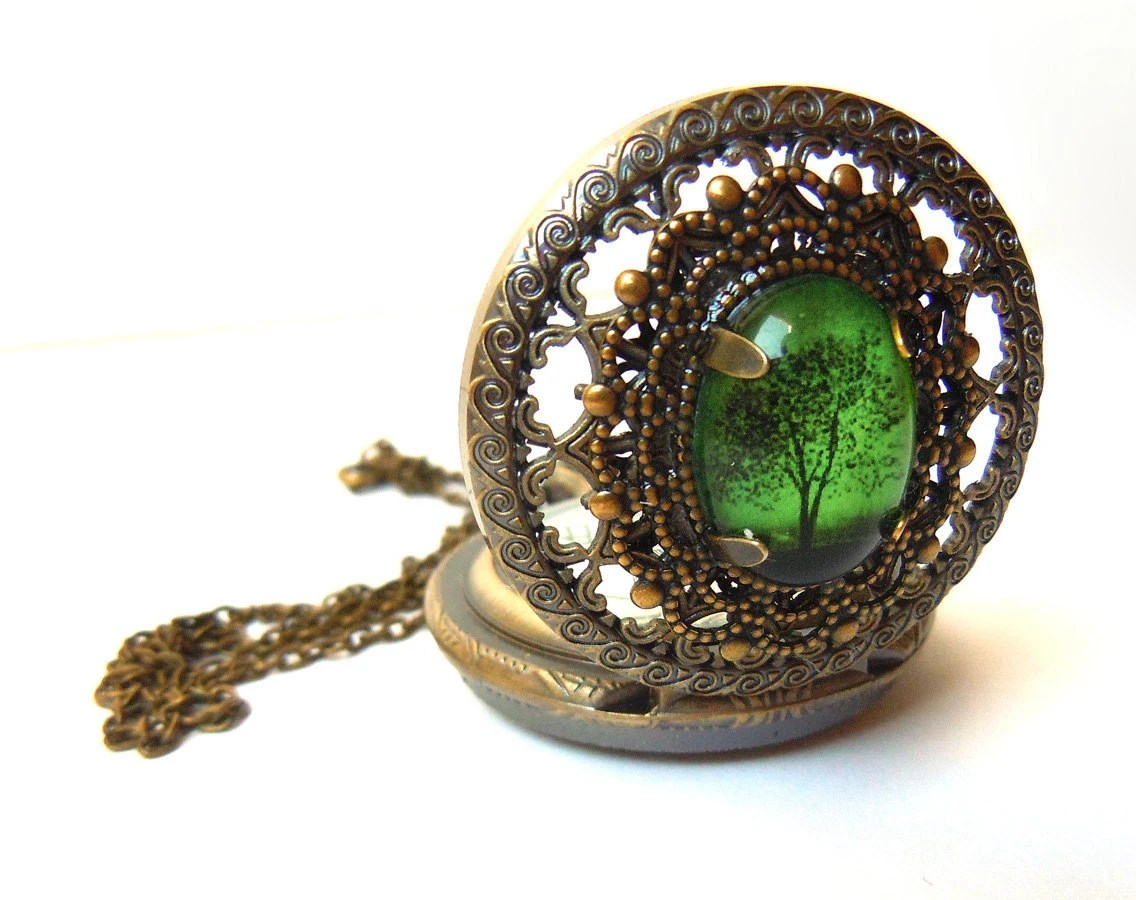Emerald Bewitched  -- Wearable Art Pocketwatch
