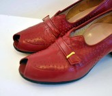 Vintage 30's 40's Red Peeptoe Perforated Buckle Shoes