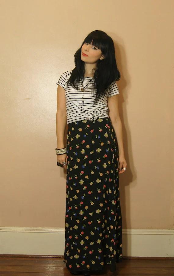 Vintage Black Floral Maxi Skirt Grunge Revival Small Medium 90s Boho