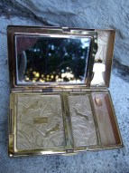 ART DECO 1940s Gilt Compact  by Elgin American