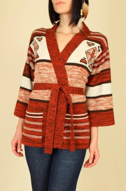 70's Vintage Hippie Navajo Wrap Sweater from hellhoundvintage on Etsy