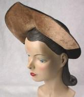 30's 40's Vintage Wide Brim Profile Hat Unused Old Store Stock 22