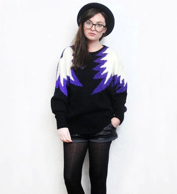 Vintage Angora Print Purple Black Star Jumper