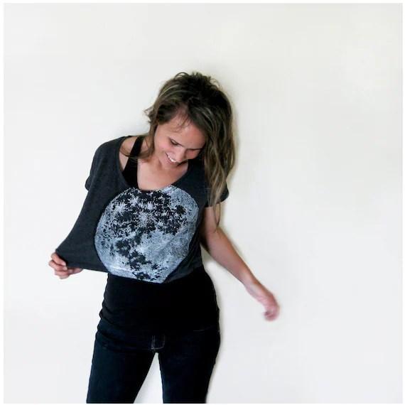 My Moon, My Man Loose Crop Tee - womens tshirt - one size fits all - moon screenprint on American Apparel heather black