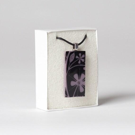 Glass Flower Pendant Purple Black Enamel on Cotton
