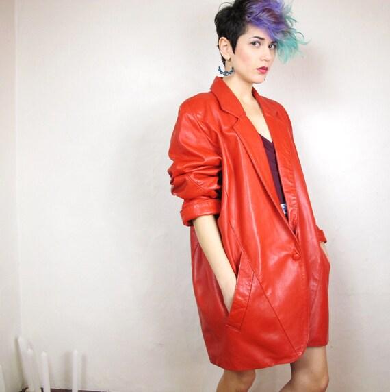 80s Avant Garde Lipstick Red Batwing Jacket (L/XL)