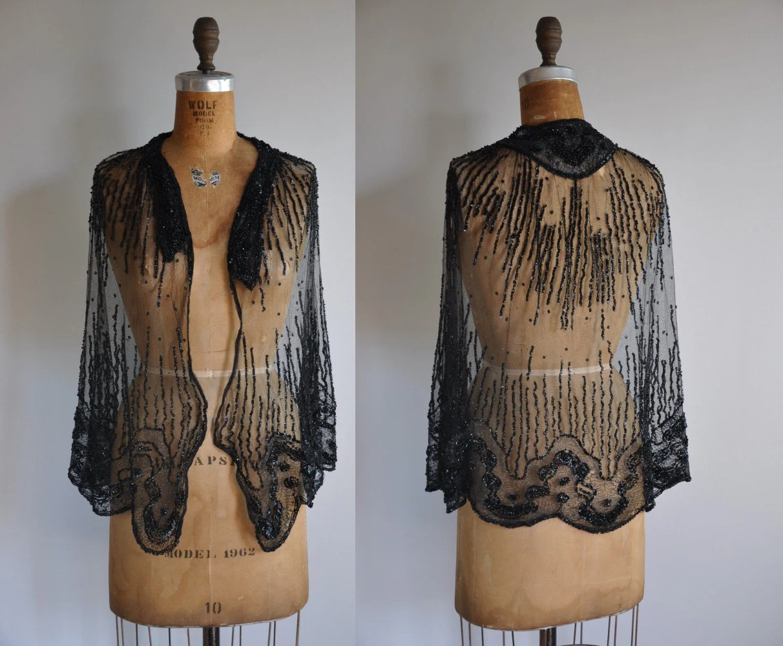 vintage antique 1920s Glitz and Glamor sequin cape