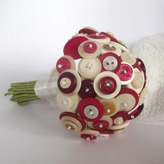 Raspberry Ripple Button Bouquet - beadbashireland