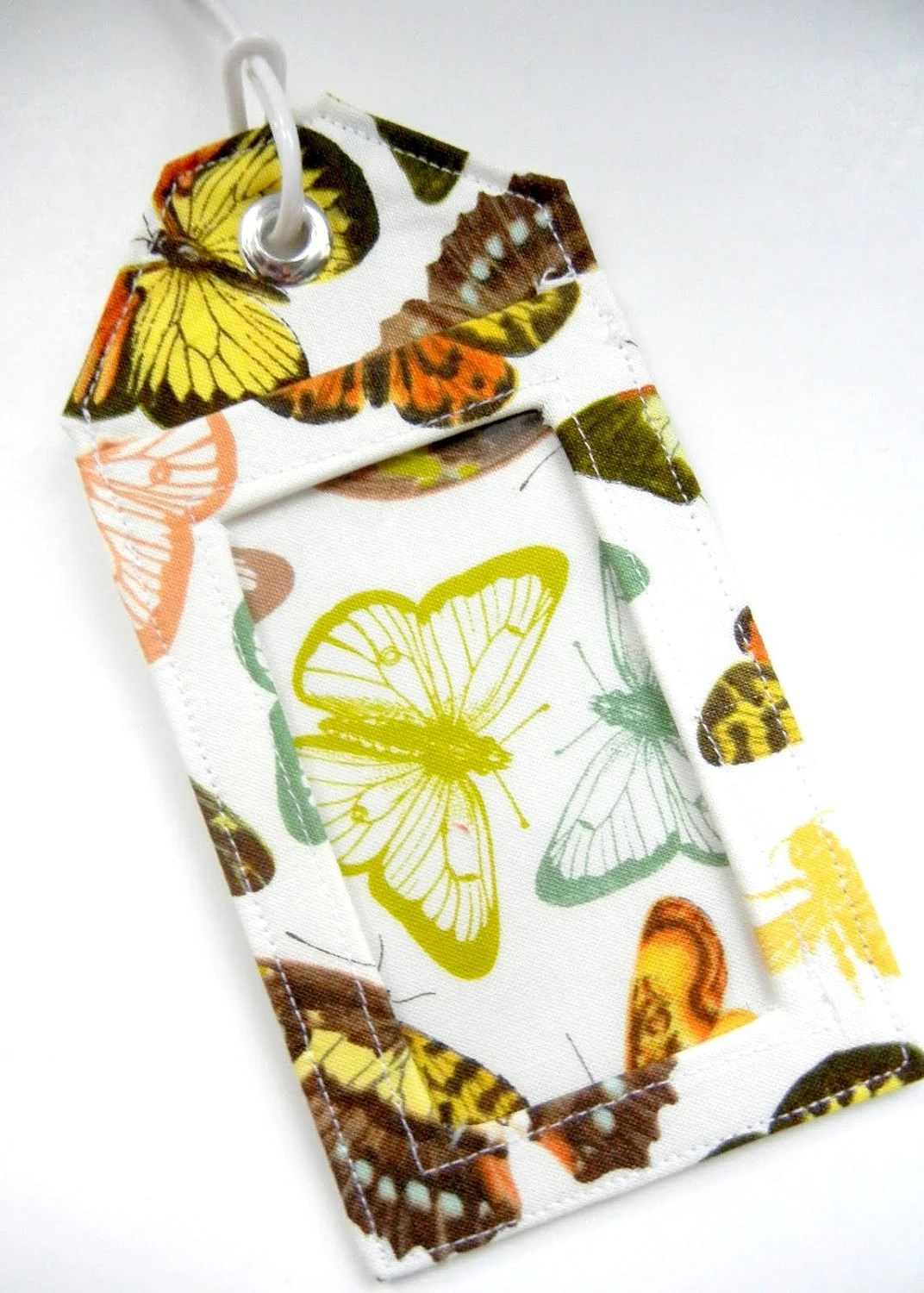 Luggage Tag / Gift Card Holder - Natural Butterflies MADE TO ORDER - PlaidCupcakeDesigns
