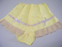 1930s Tap Panties yellow Lace Boudoir Valentines Day blue Ribbon bows