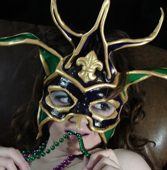 Leather Mardi Gras Purple Green Gold Jester Costume Mask