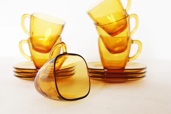 Vintage set of six amber coffe cups with saucers