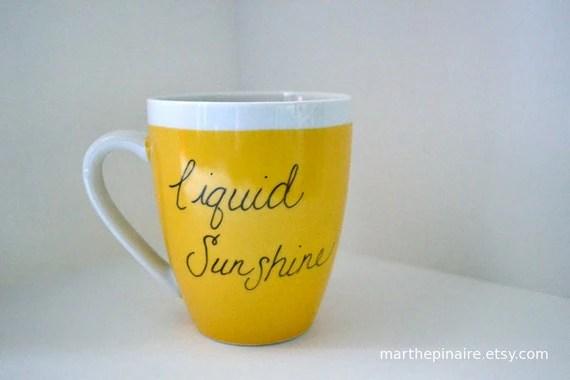 liquid sunshine hand painted yellow mug 2.0 - marthepinaire