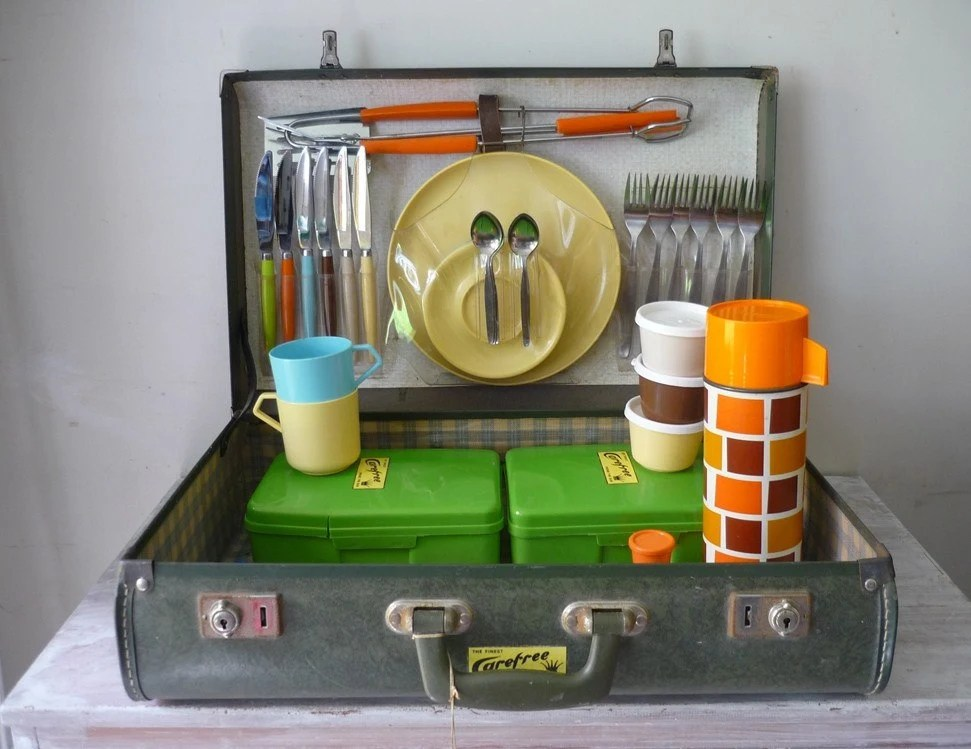 vintage picnic in a suitcase