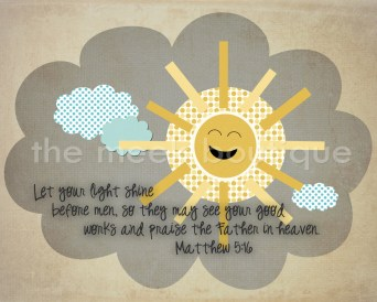 Scripture Art, Let Your Light Shine, Matthew 5:16, Nursery Wall Art, Printable