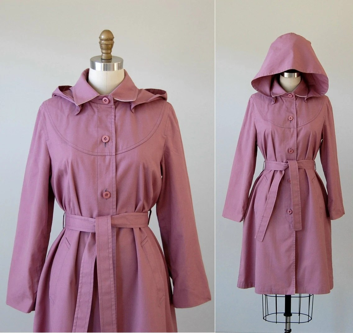 Vintage Purple Raincoat / Hooded Raincoat / Berry Sorbet Belted Trench Coat