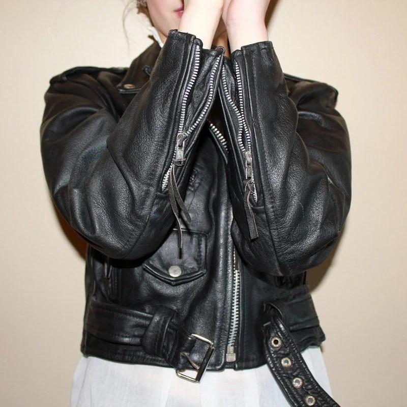 Vintage Cropped Leather Biker Jacket 1980s