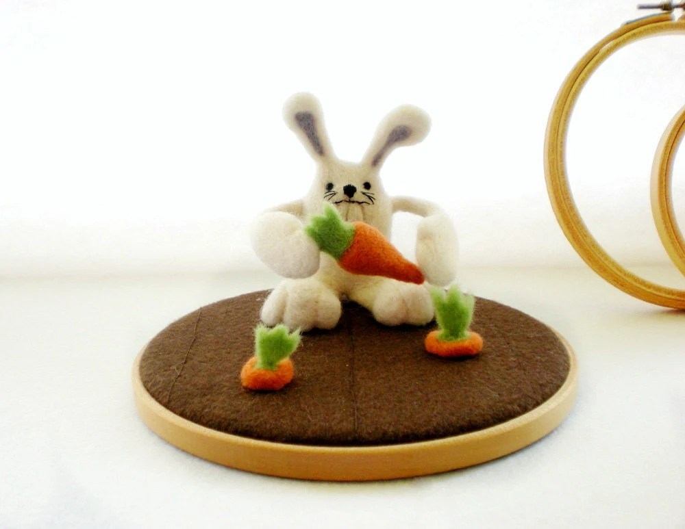 Mr Greedy Bunny - Needle Felted Sculpture