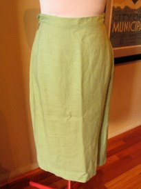 Vintage Late 1940s Spearmint Green Linen Skirt