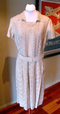 Vintage 1950s Dress with Eyelet Panels - L