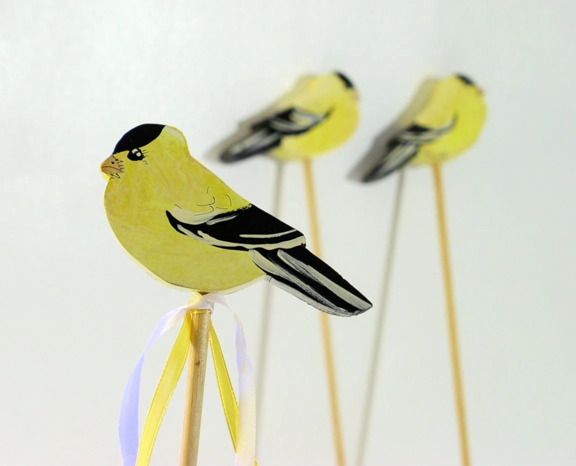 Plant Table Marker Yellow Goldfinch Garden Decor