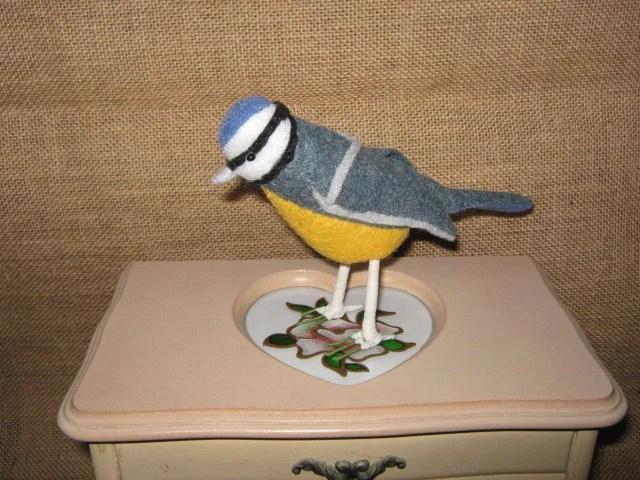 Blue Tit - Handstitched Felt Bird
