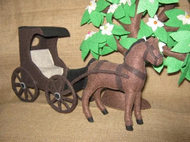 Horse & Buggy, handstitched, in felt