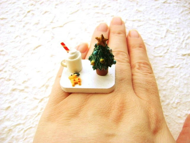 Christmas Ring Kawaii Food Cookies Hot Chocolate Miniature Food Jewelry