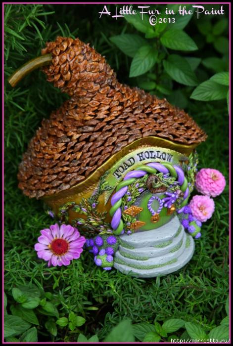 Изумительные сказочные домики из тыквы, полимерной глины и шишек (53) (471x700, 319Kb)