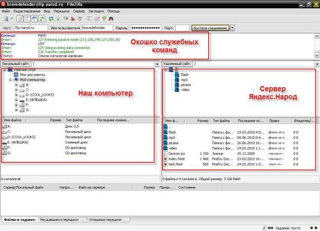 Окно программы FileZilla